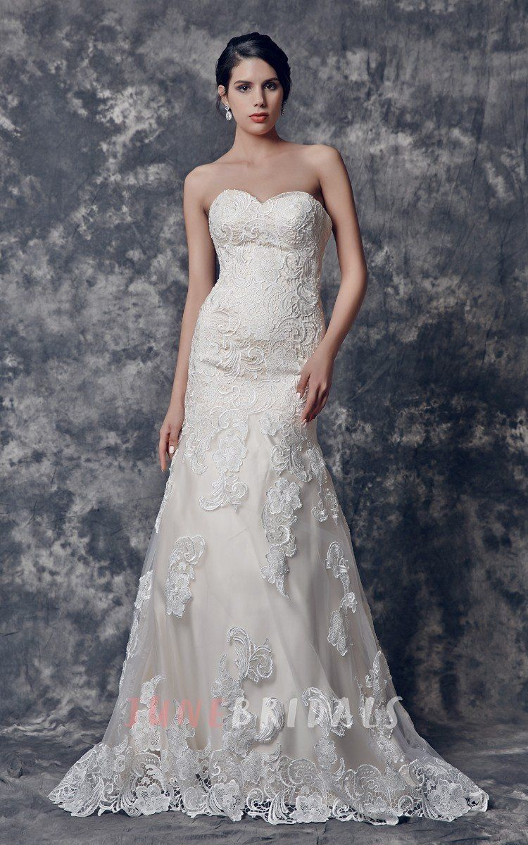 Fit and flare lace wedding dress  Sweetheart Fit and Flare Lace Wedding Dress u June Bridals  Wedding