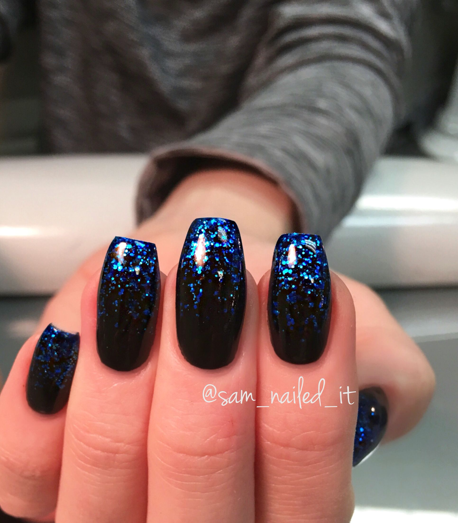 Coffin nails Blue nails Glitter nails Glitter fade nails | nails ...