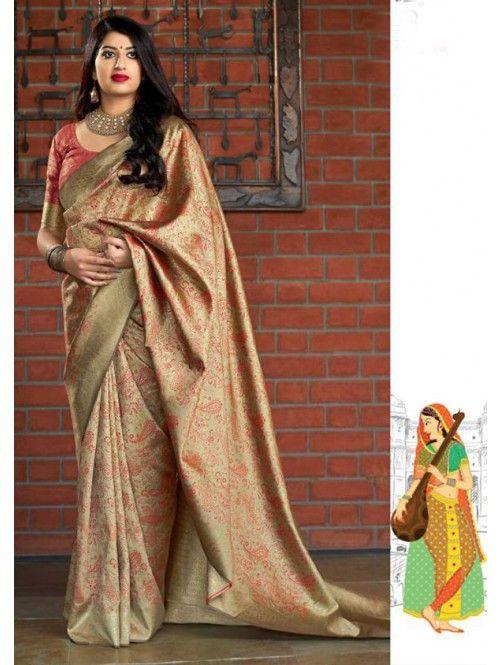 Photo of Grab and Pack Beige Colored Pure Banatasi Silk Wedding Saree