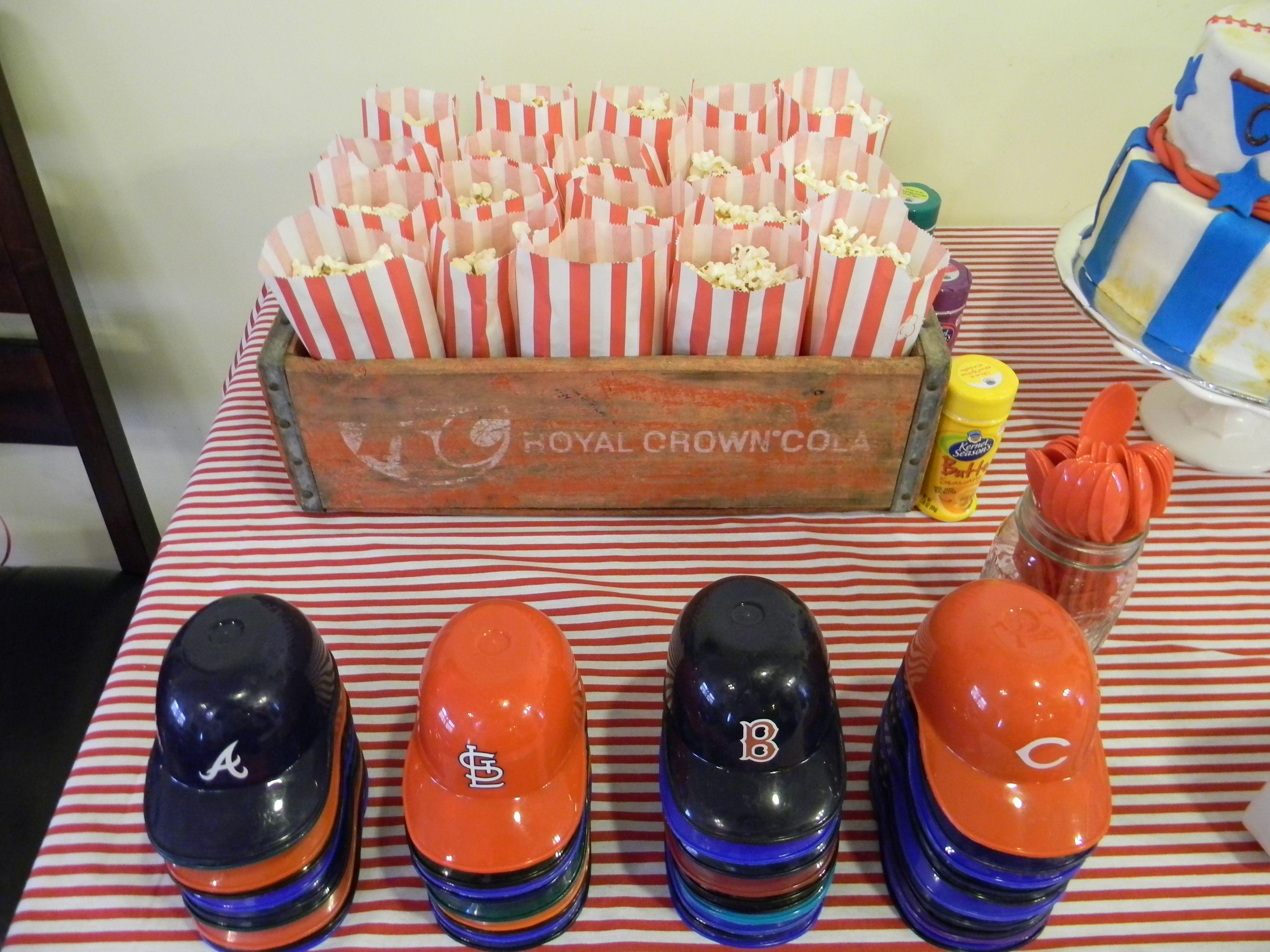 Popcorn and Baseball Hats for Ice Cream Sundays at Baseball Party