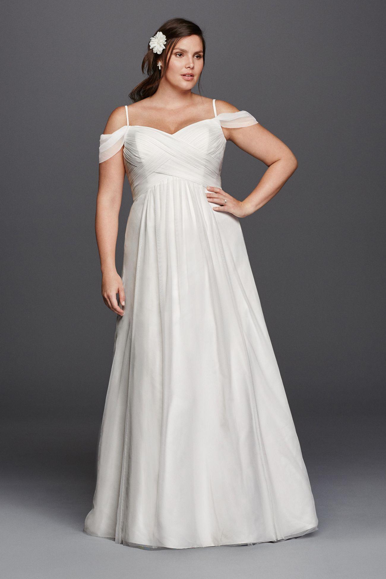 Aline Plus Size Wedding Dress with Swag Sleeves Wedding