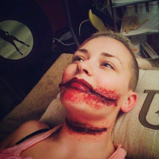 Halloween special effects make up. Chelsea smile and slit throat ...