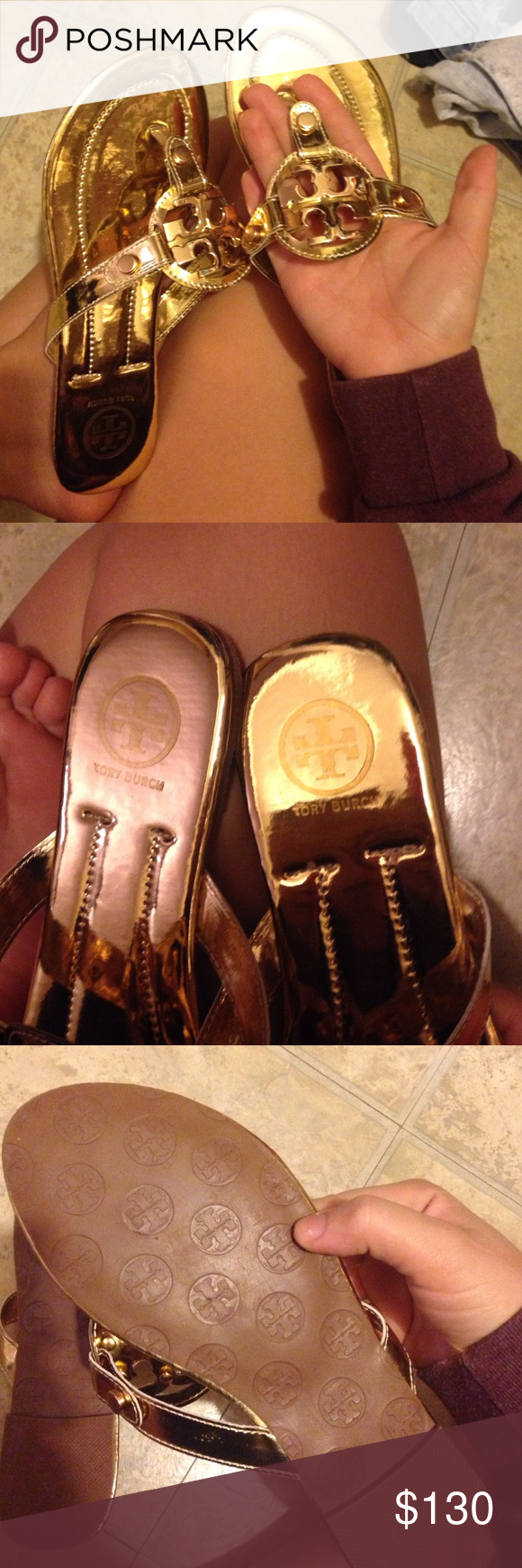 7275b6ed5349df Tory burch miller sandals in gold inspired look alike miller sandals! never  been worn! i am size 7.5-8 and this is how they fit me!