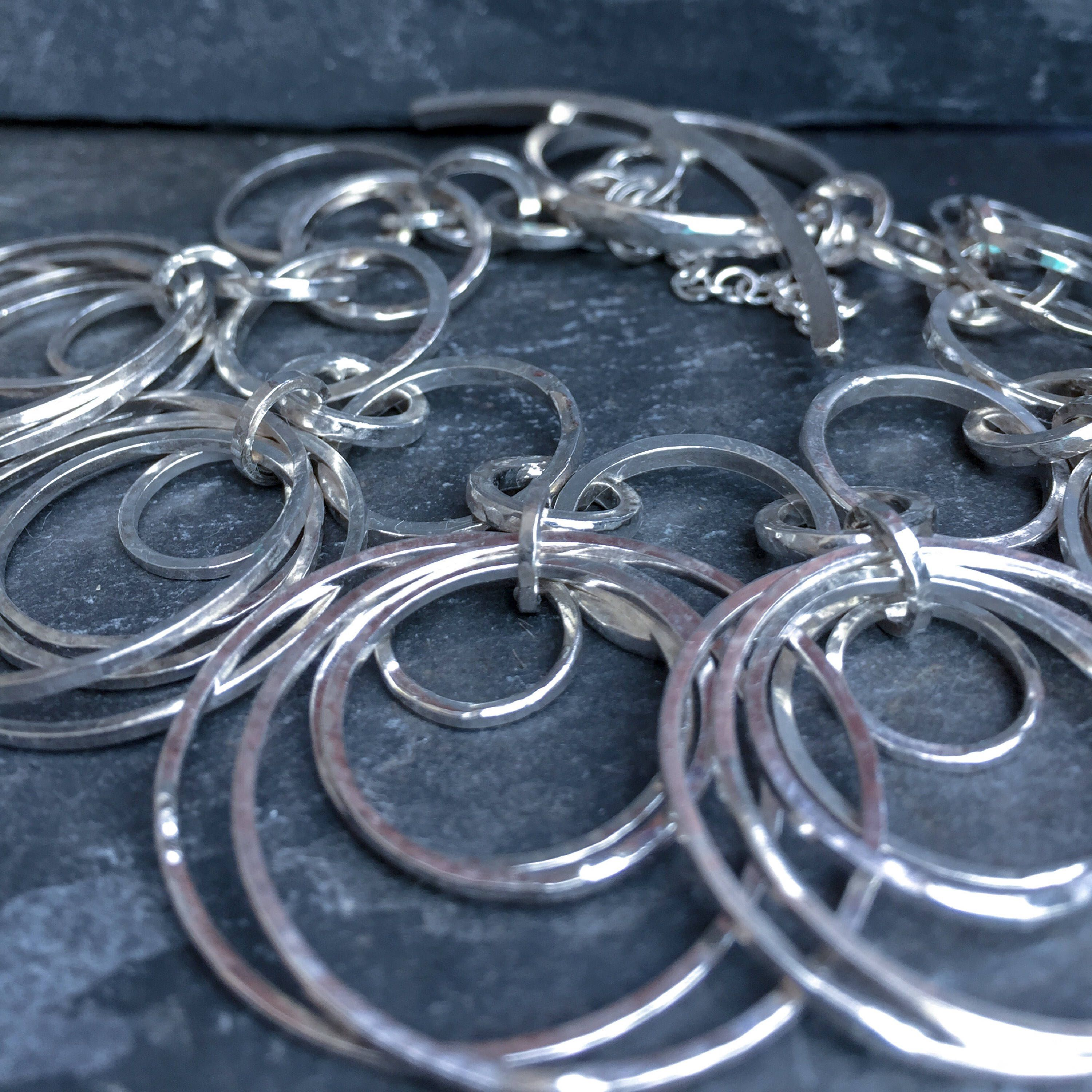 Sale sterling silver circles charm bracelet by sophiejewel on etsy