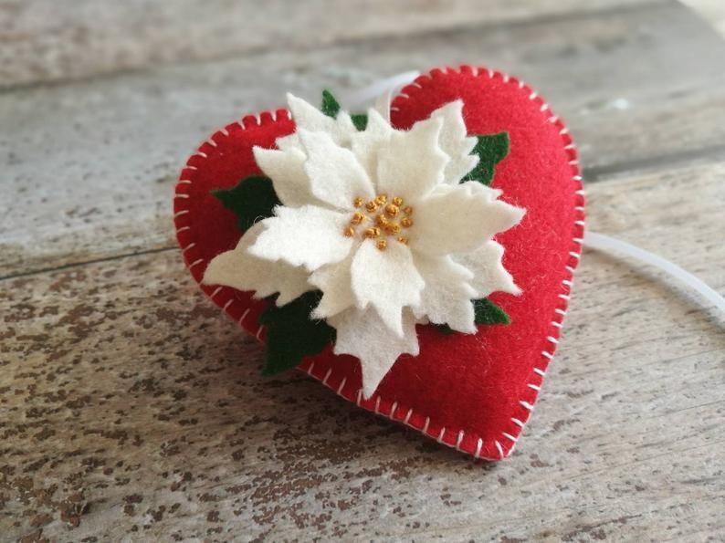 Felt Poinsettia ornament, Heart ornament, Christmas decoration, Valentines decor, Xmas flower decorations / MADE TO ORDER