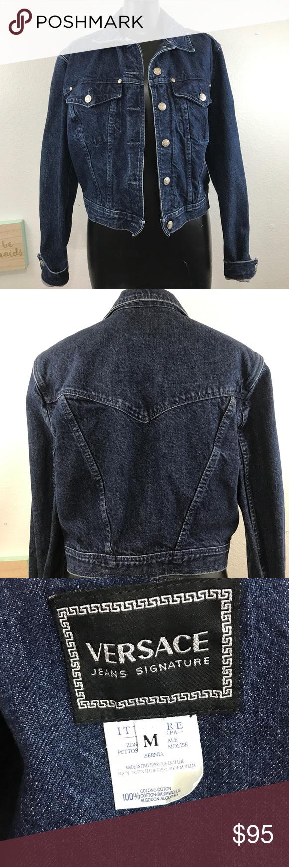 Vintage Versace Jeans Signature Blue Denim Jacket Blue Denim Jacket Denim Jacket Vintage Versace