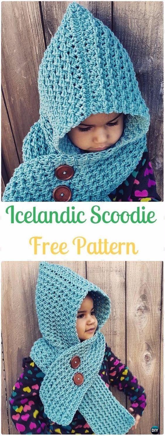 Crochet Icelandic Scoodie Free Pattern | Capuchas, Gorros y Patrones ...