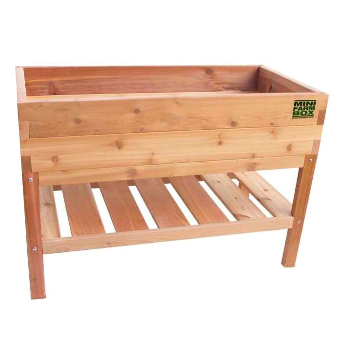 Great Rock Solid Cedar Planter With Bottom Shelf