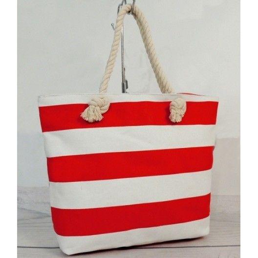 Dámska plážová taška bielo červenej farby - fashionday.eu