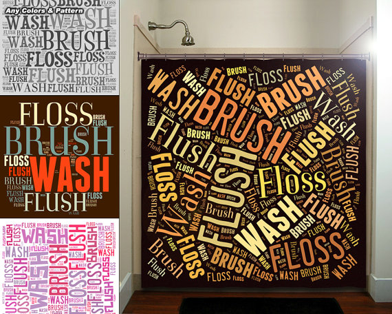 Flush Floss Brush Wash Bathroom Rules Shower Curtain Extra Etsy