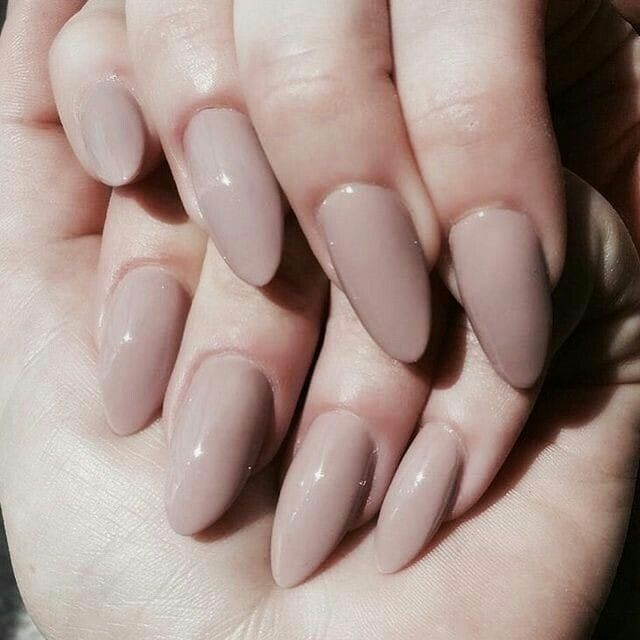 Almond Shaped Nails. Nude, Creamy Beige Gel Nails Kelowna