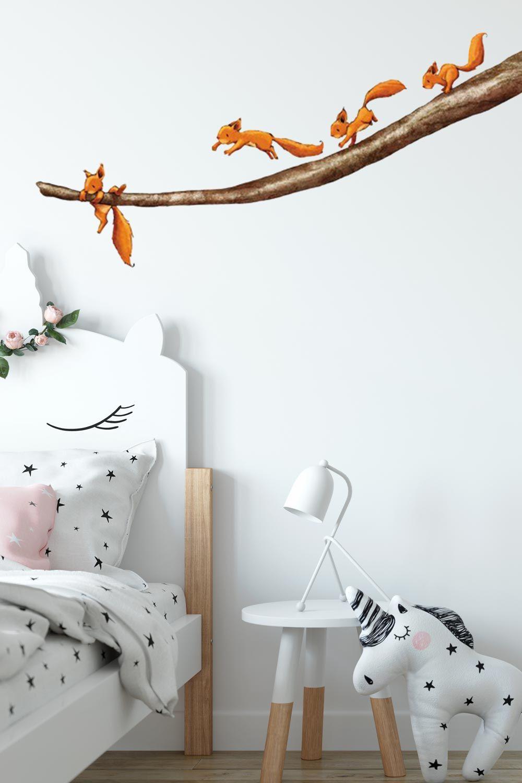 Wandtattoo Wald Babyzimmer Einhornchen Halt Dich Fest In 2020 Wald Babyzimmer Tapete Kinderzimmer Junge Babyzimmer Wandgestaltung