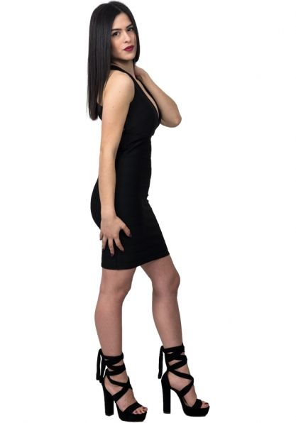 d285e6fb7e58 Φόρεμα mini λάστιχο χιαστί
