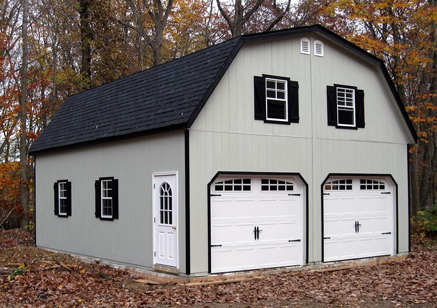 24x30 2 car garage with gambrel barn style roof built for 2 story garage plans with loft
