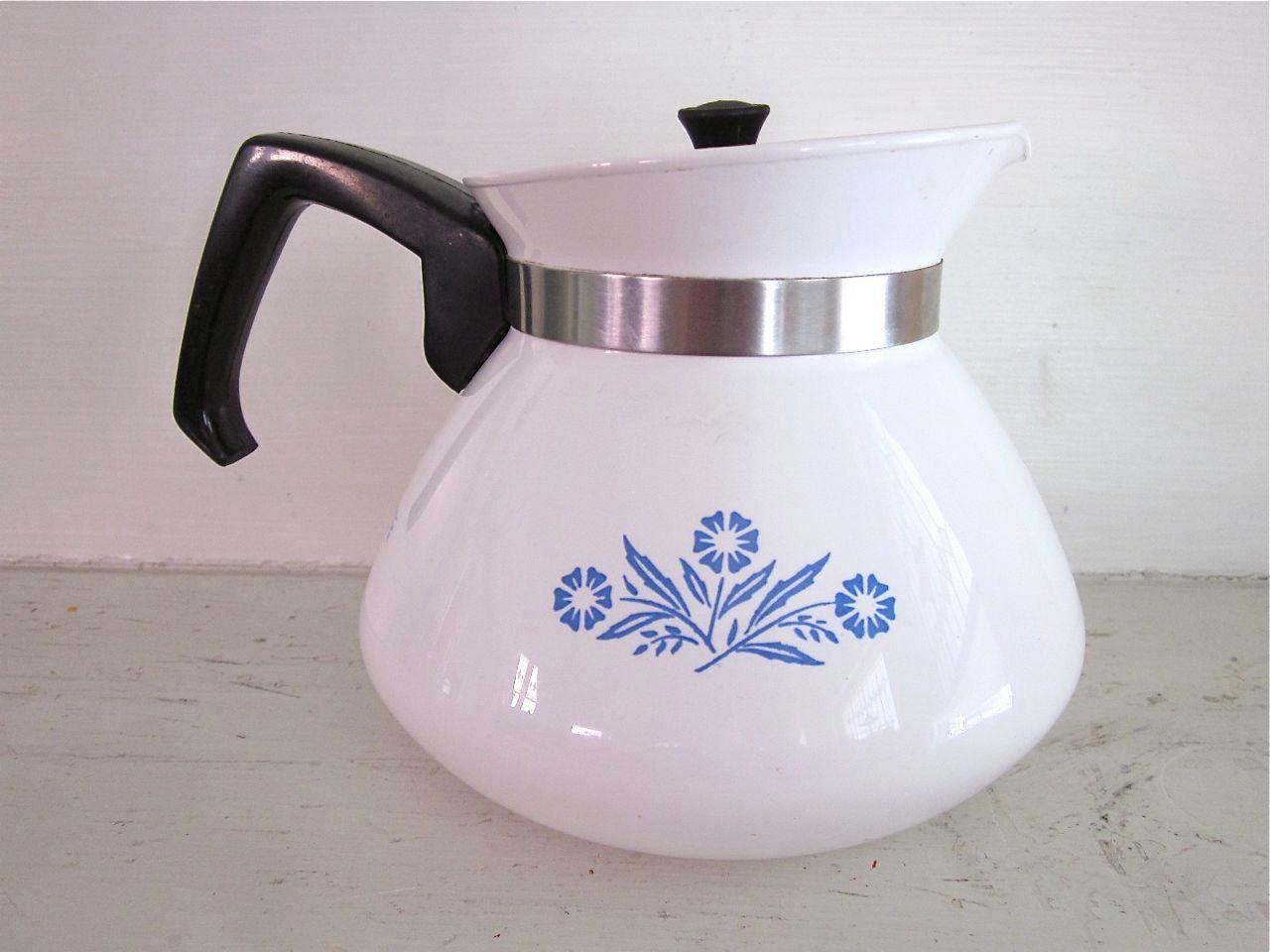 corningware cornflower tea kettle  stovetop teapot  via  - corningware cornflower tea kettle  stovetop teapot  via etsy