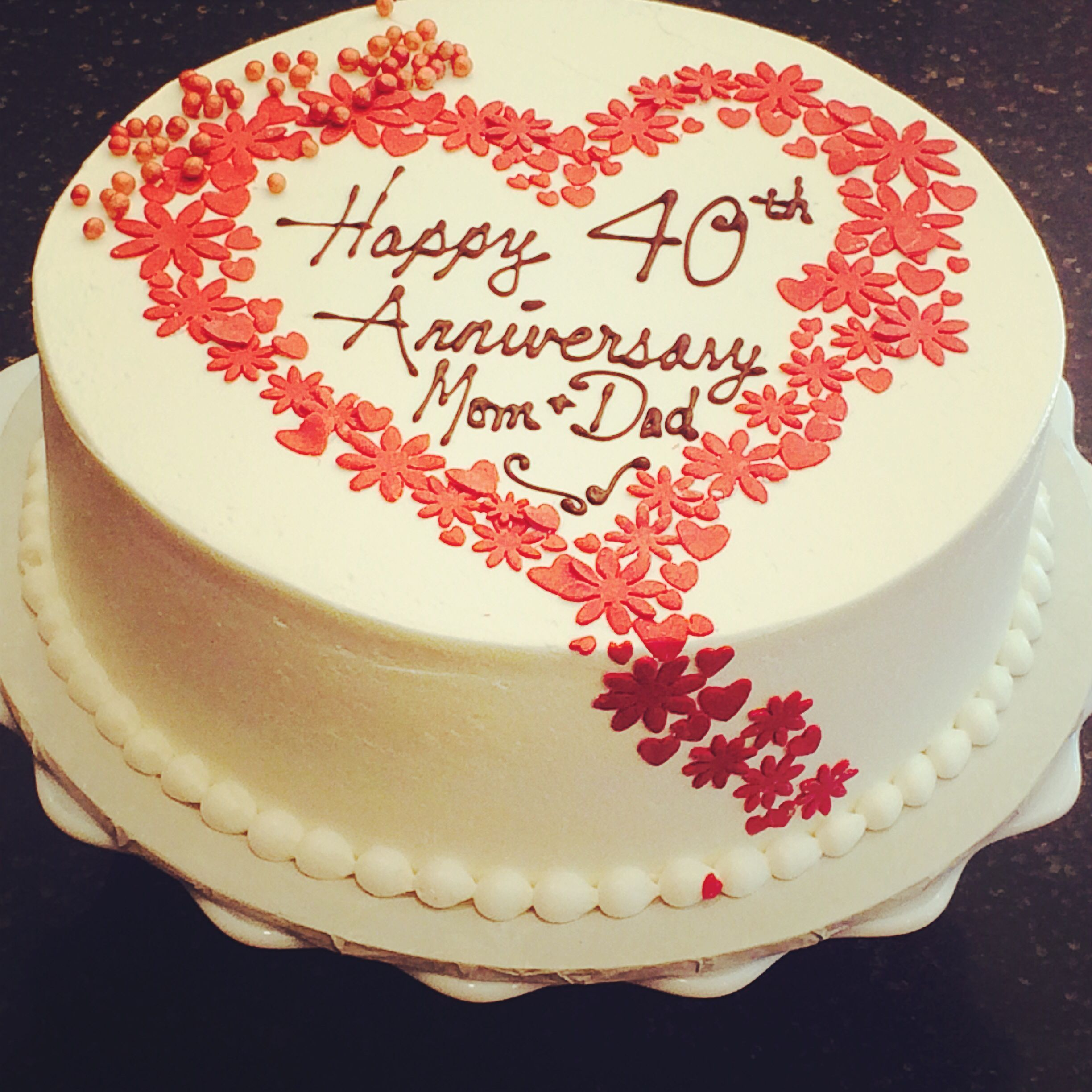 Cake Ideas For Wedding Anniversary: Red Velvet Ruby 40th Anniversary Cake. Newleafpastries.com