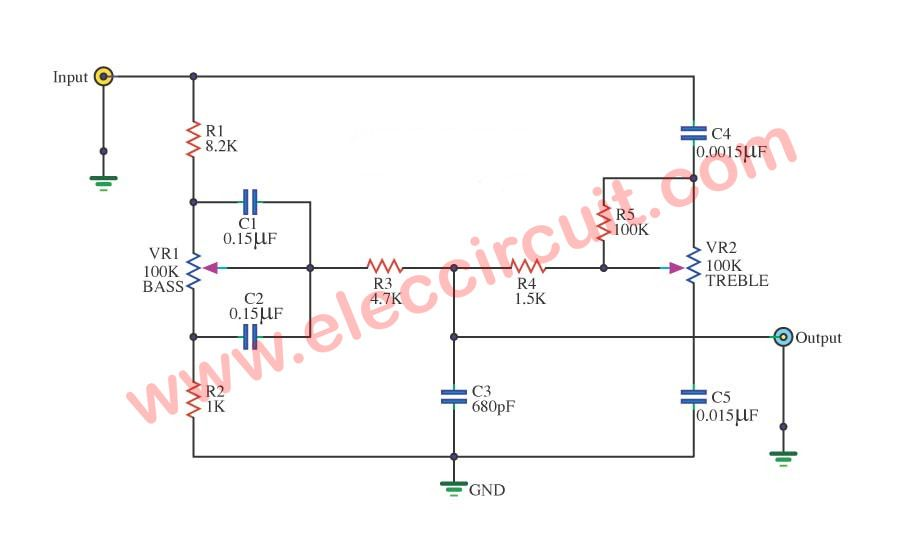 Passive Tone Control Circuit Eleccircuit Com Electronic Circuit Design Circuit Electronics Circuit
