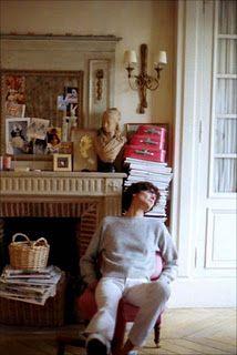 Inès de la Fressange home. Her new flat is much bolder in colour