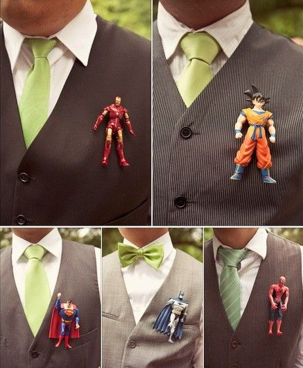 Out Of The Box Boutonniere Ideas Venuelust Superhero Wedding Geeky Wedding Geek Wedding