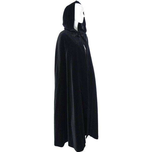 c6d6729a234 YSL Yves Saint Laurent Rive Gauche Vintage Opera Cape Hooded Black... ❤  liked on Polyvore featuring outerwear, velvet cape, vintage cape coat, ...