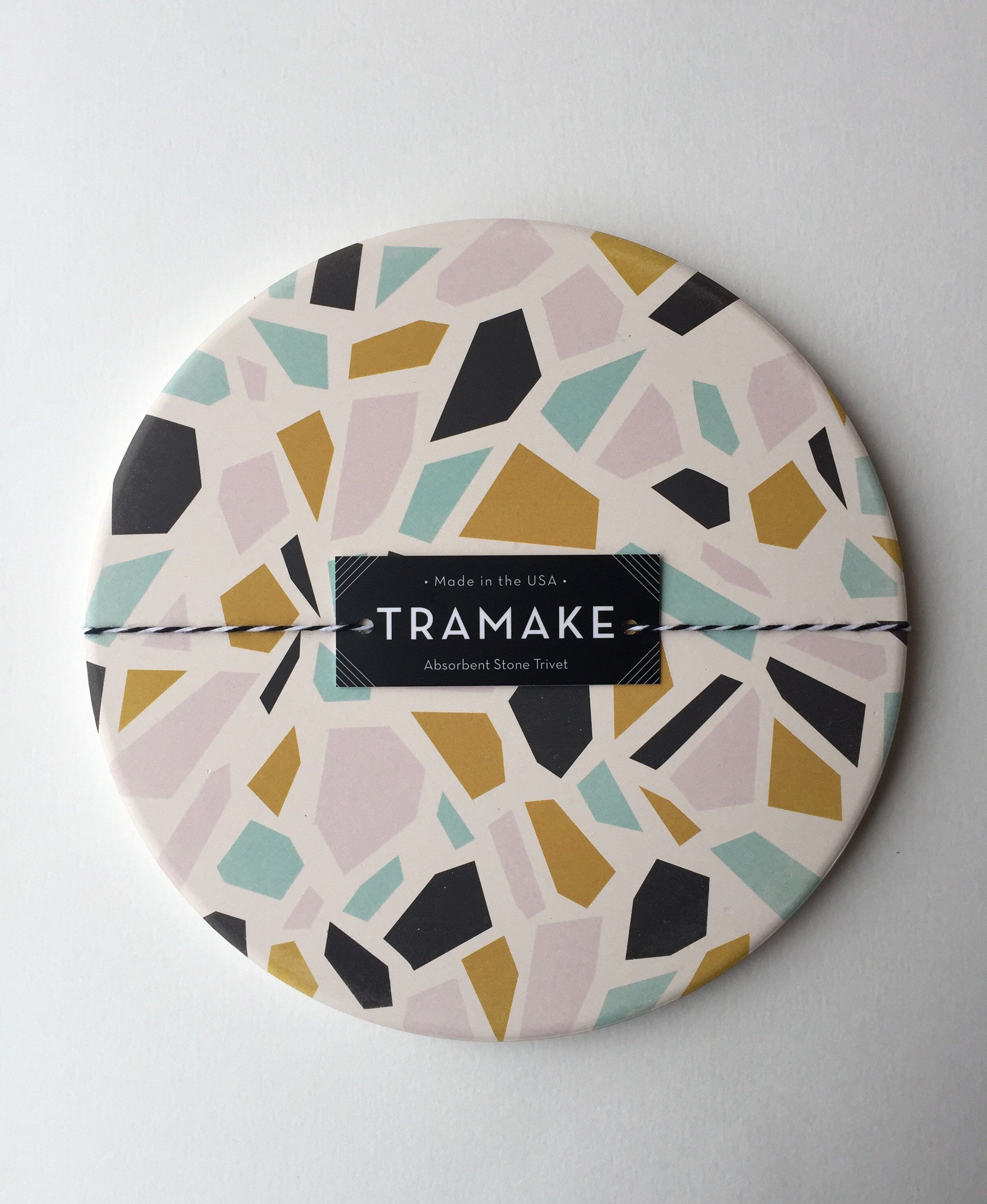 Terrazzo Print Ceramic Trivet Absorbent  Made In Usa