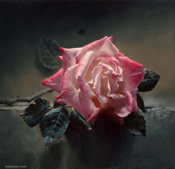 40 Hyper Realistic Oil Painting Ideas To Try is part of Rose painting, Realistic oil painting, Flower painting, Still life oil painting, Realistic paintings, Flower drawing - if this is going to be your very first oil painting then you can consider these hyper realistic oil painting ideas to try
