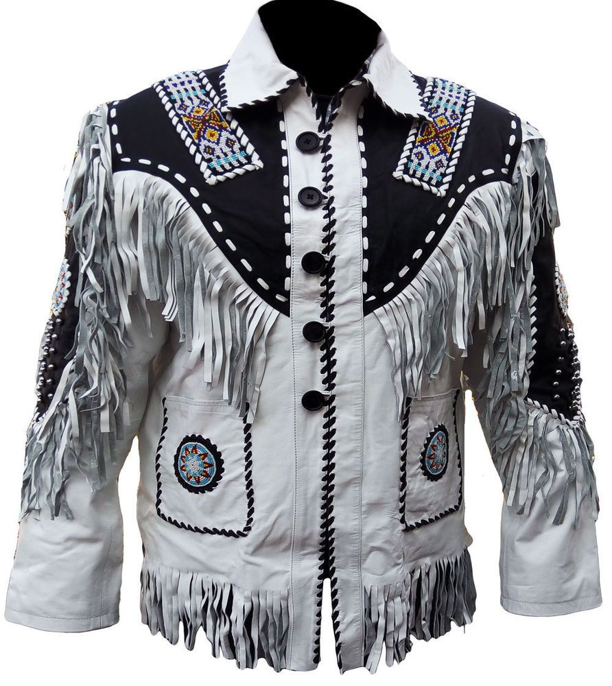 Mens Western Wear Suede Leather Jacket Fringed Cowboy