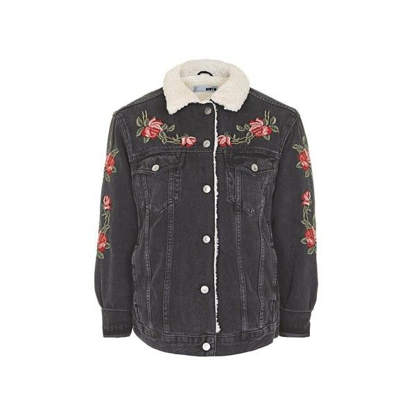 Topshop Petite Rose Embroidered Borg Jacket (€99) Liked On