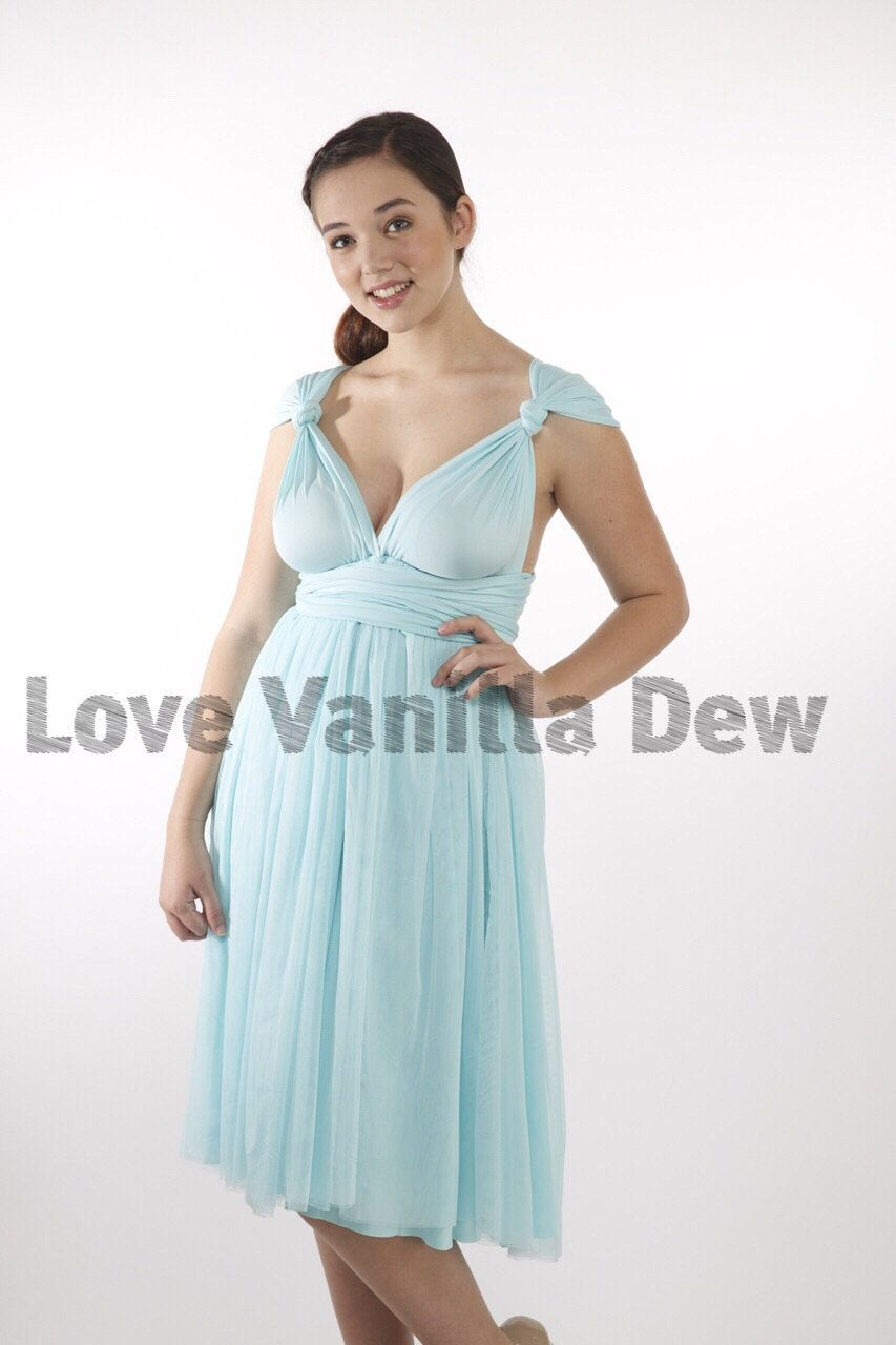 Bridesmaid Dress Infinity Dress Pastel Blue Tulle Knee Length Wrap ...