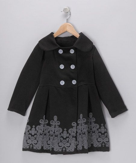 Just Kids Black Double-Breasted Pleated Peacoat - Girls