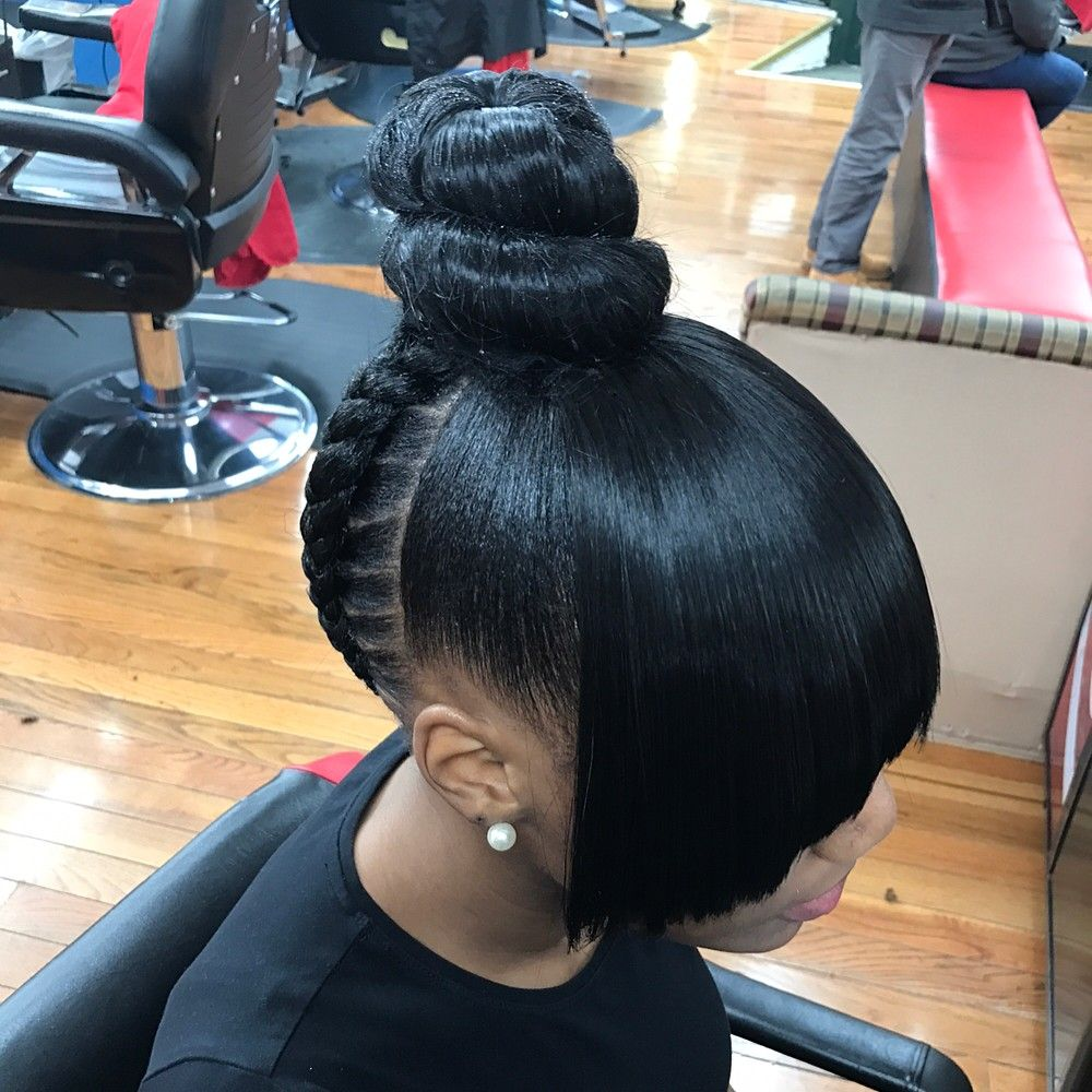 Topknot Bun W Faux Bangs And Stitch Braids In The Back Byjawz Bostonbased Bostonbraider Bostonst Braided Hairstyles Easy Braided Hairstyles Ponytail Styles