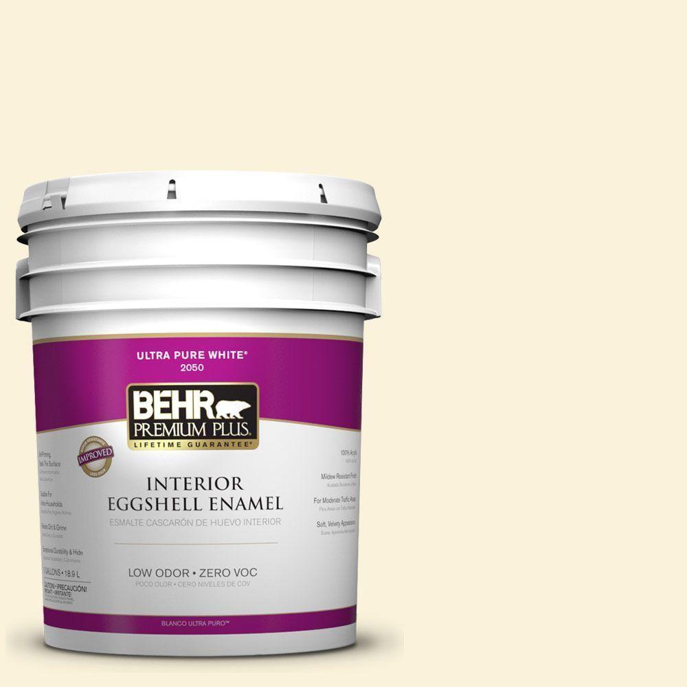 BEHR Premium Plus 5-gal. #380C-1 Sun Glint Zero VOC Eggshell Enamel Interior Paint