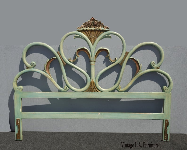 Vintage French Country Provincial Rococo Green King Headboard W
