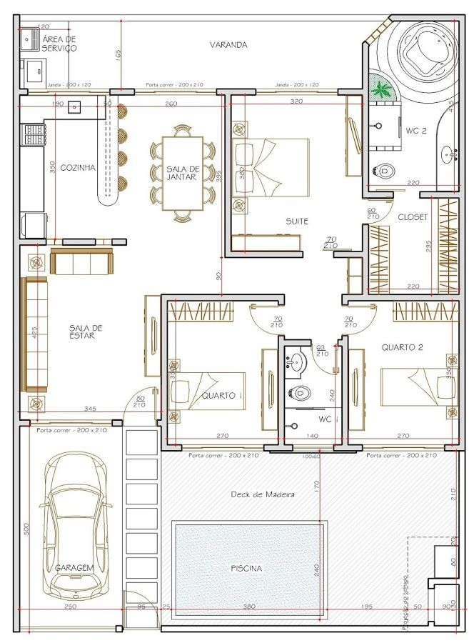 plano Casa100m2 tres dormitorios dos bañosjpg Maldonado - plan maison 170 m2 plain pied