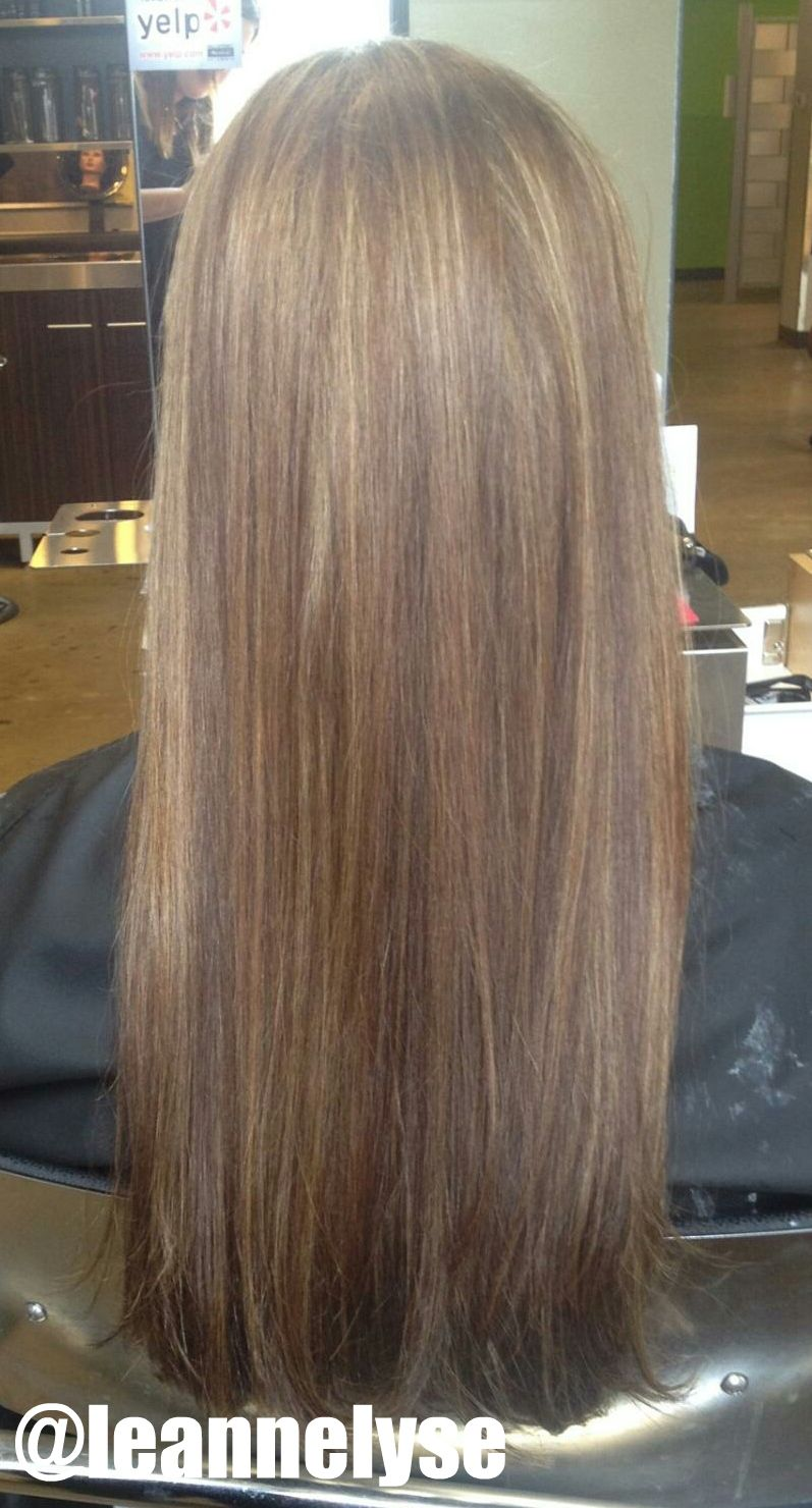 Blended caramel blonde highlights on long brown hair. Styled sleek and straight //Created by Leann Henderson, Future Professional #803 at Paul Mitchell The School St. Louis // Call (314) 361-8200 to make an appointment! // www.facebook.com/leannhendersonstylist // Instagram: @Leann T Henderson