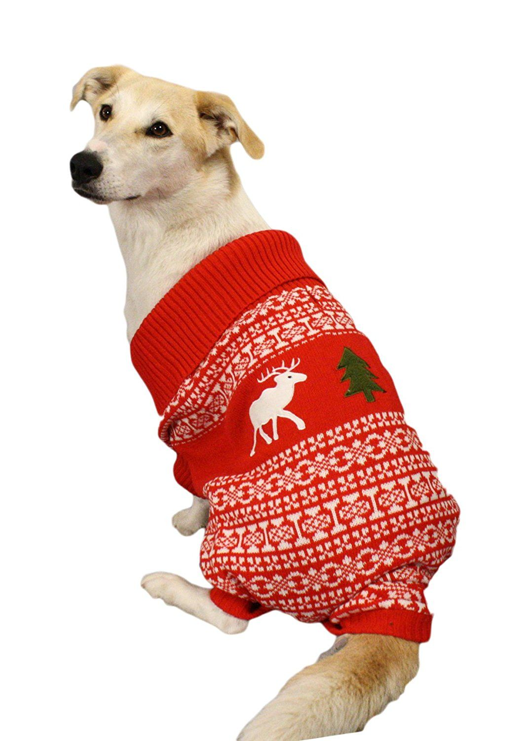 Holiday Reindeer Dog Sweater (Red) - Christmas Dog Sweater By Festified ***