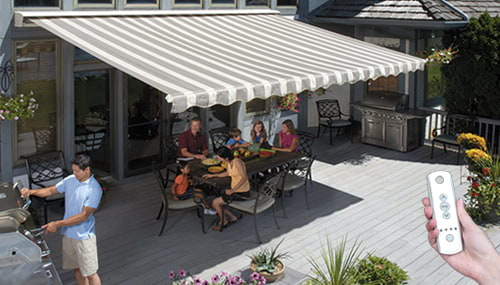 Sunsetter Motorized Xl Awning In Island Brown Acrylic Fabric In 2020 Outdoor Remodel Outdoor Awnings Patio Awning