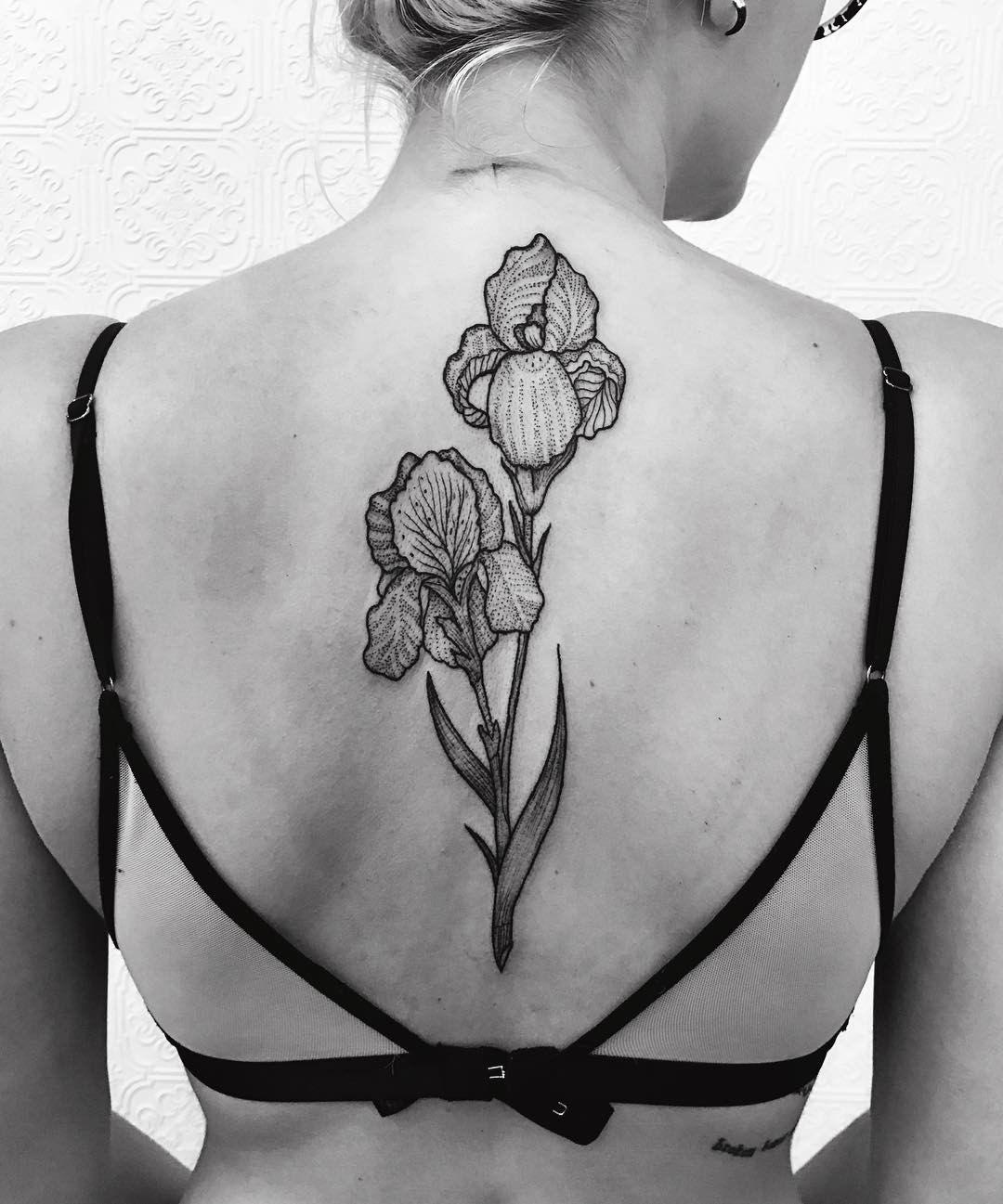 Black Outline Iris Flower Tattoo Design Minimalist Tattoo Iris Tattoo Small Tattoos