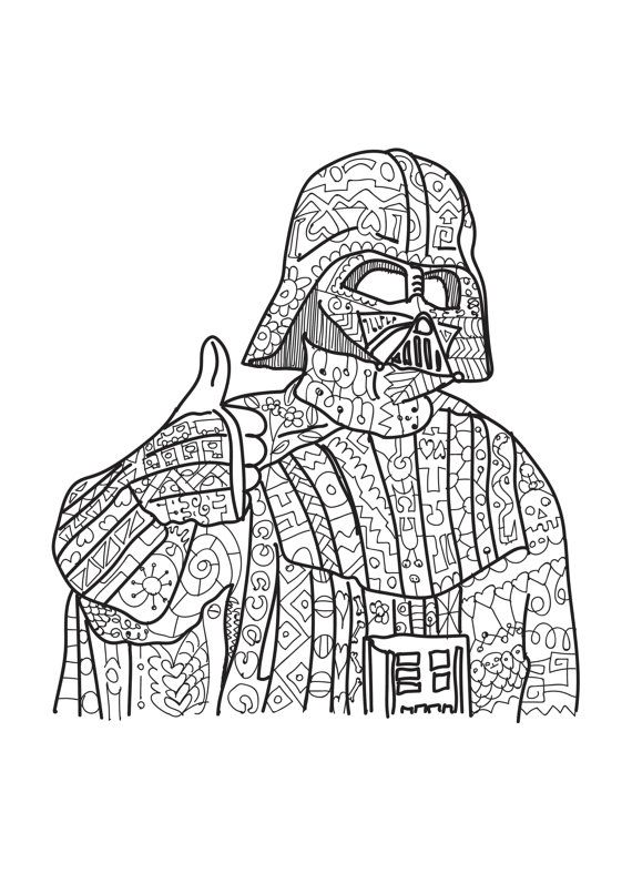 Darth Vader Star Wars Coloring Page Adult Coloring By