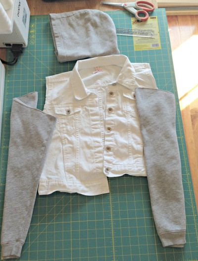 Refashioned Jean Jacket with Sweatshirt Sleeves and Hoodie - Step 1 #jeanjacketoutfits