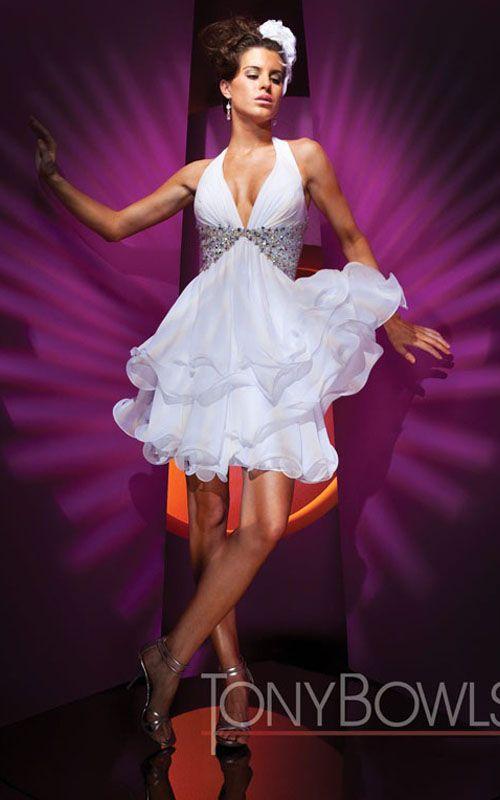 Tony Bowls TS11180 Layered White Short Prom Dress Sale