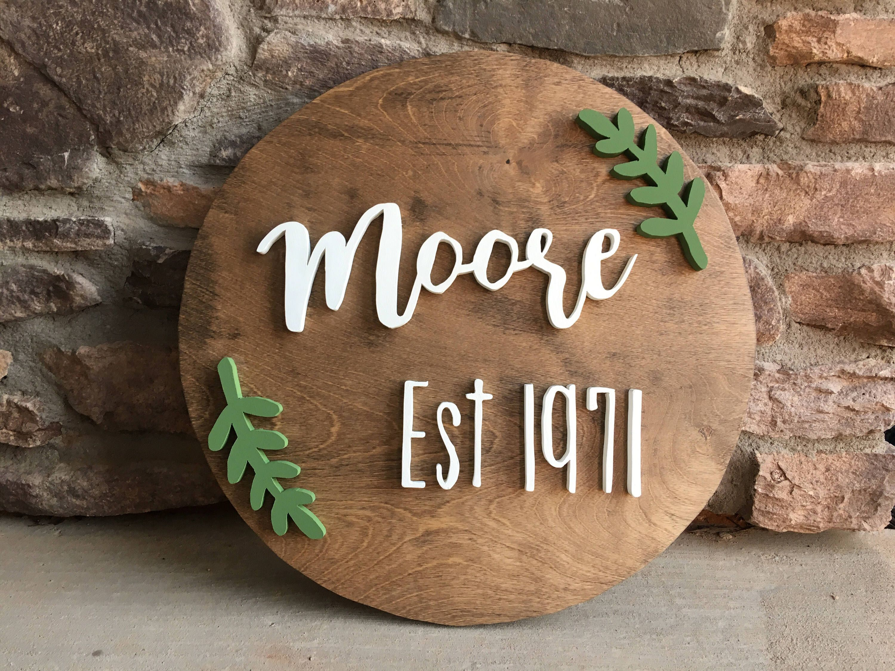 Family established round wood sign with leafs wall decor last