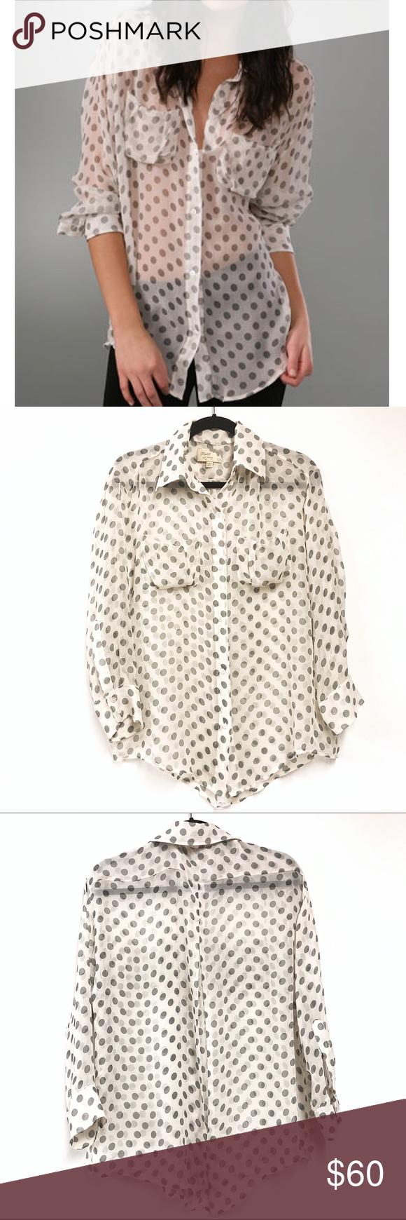 b5884de1b33a3 Elizabeth   James Silk Blouse Elizabeth   James  Artist  polka dot silk-chiffon  blouse. Size XS. Chest pockets. Sheer. Great condition. Retail  245.