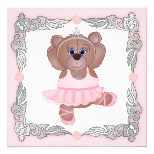 Cute Ballerina Cartoon Teddy Bear Baby Shower Custom Invite