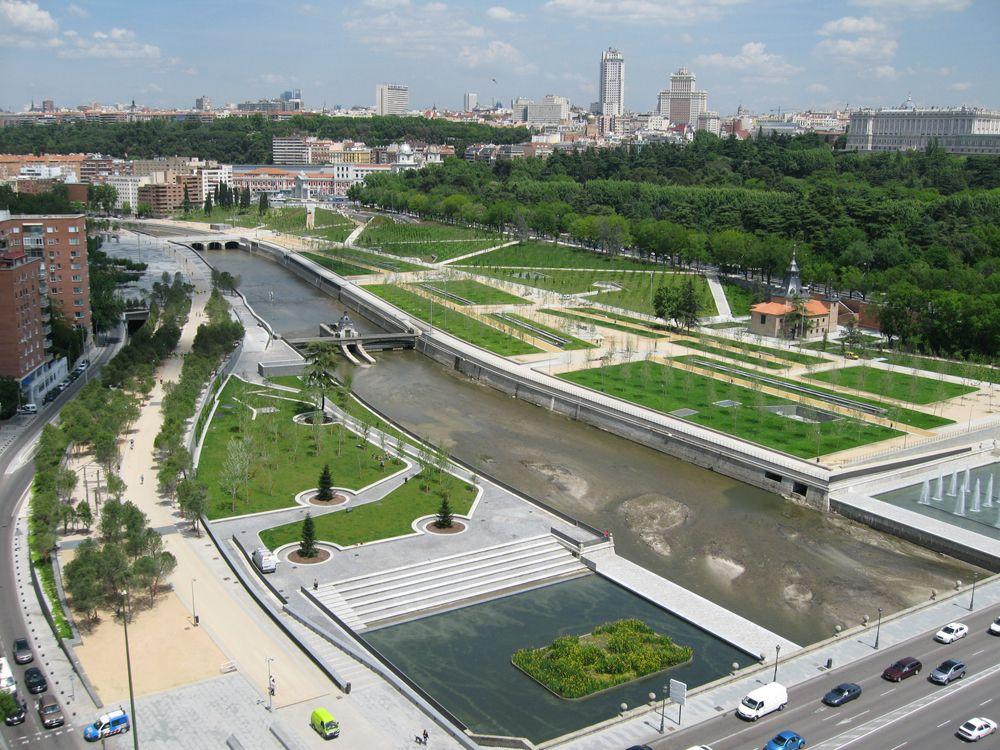 Madrid Rio Manzanares Lineal Park Pictures Urbanismo Arquitetura Paisagismo