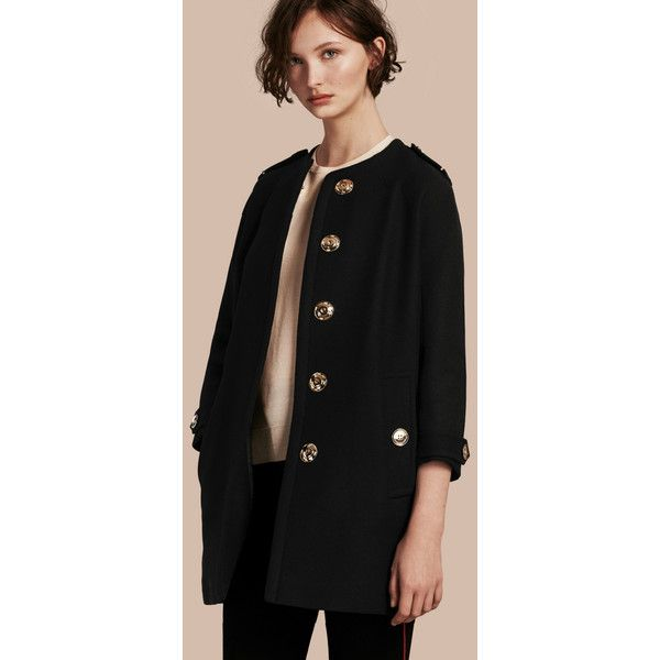 Burberry Technical Wool Cashmere Collarless Coat ($1,640) ❤ liked ...