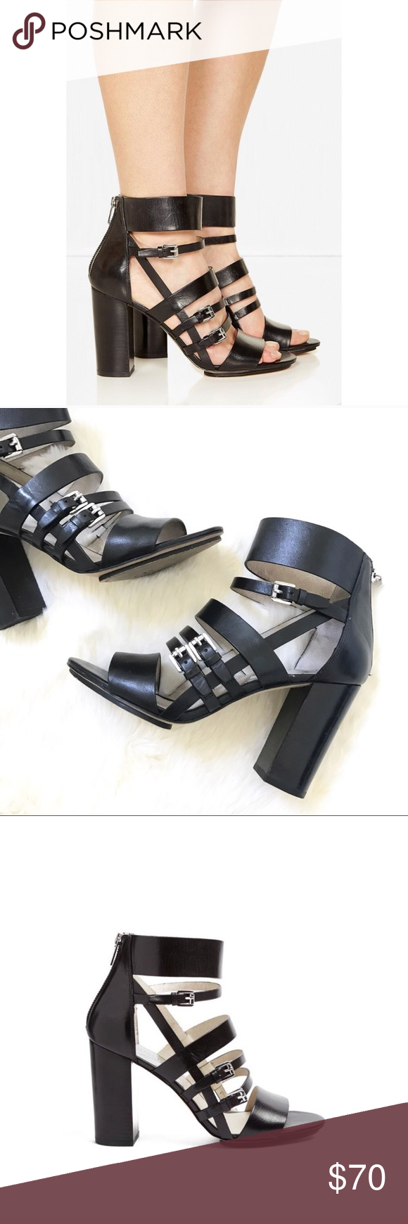 21719ef6a3f   MICHAEL KORS   Michael Kors Black Winston Leather Strappy Chunky Heels  Excellent condition Michael Kors Shoes Heels