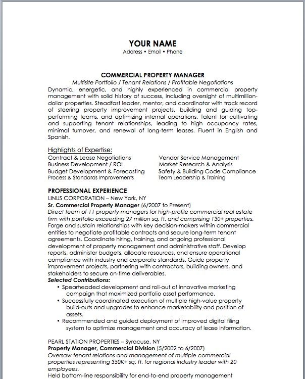 Management Resume 12 Property Management Resume Examples  Sample Resumes  Job Info