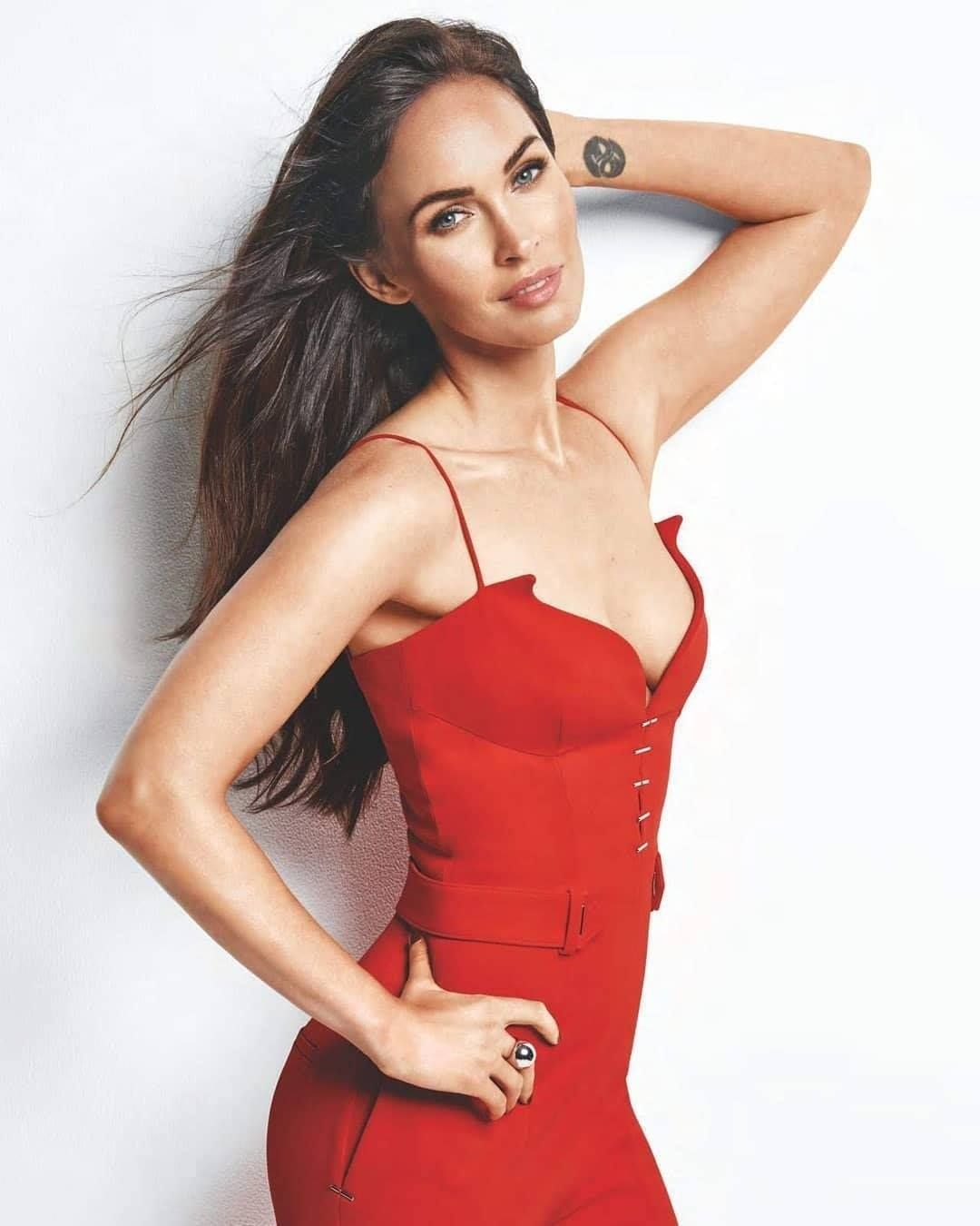 Megan Fox red jumpsuit