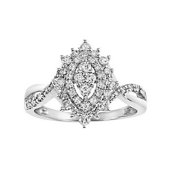 Cherish Always Certified Diamond Double Halo Marquise Engagement Ring In 10k White Gold 1 2 Carat T W Engagement Rings Marquise Engagement Rings Engagement